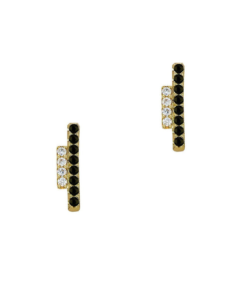 gold cz and onyx bar stud earrings