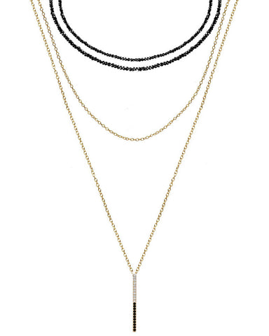 gold spinel choker layered necklace
