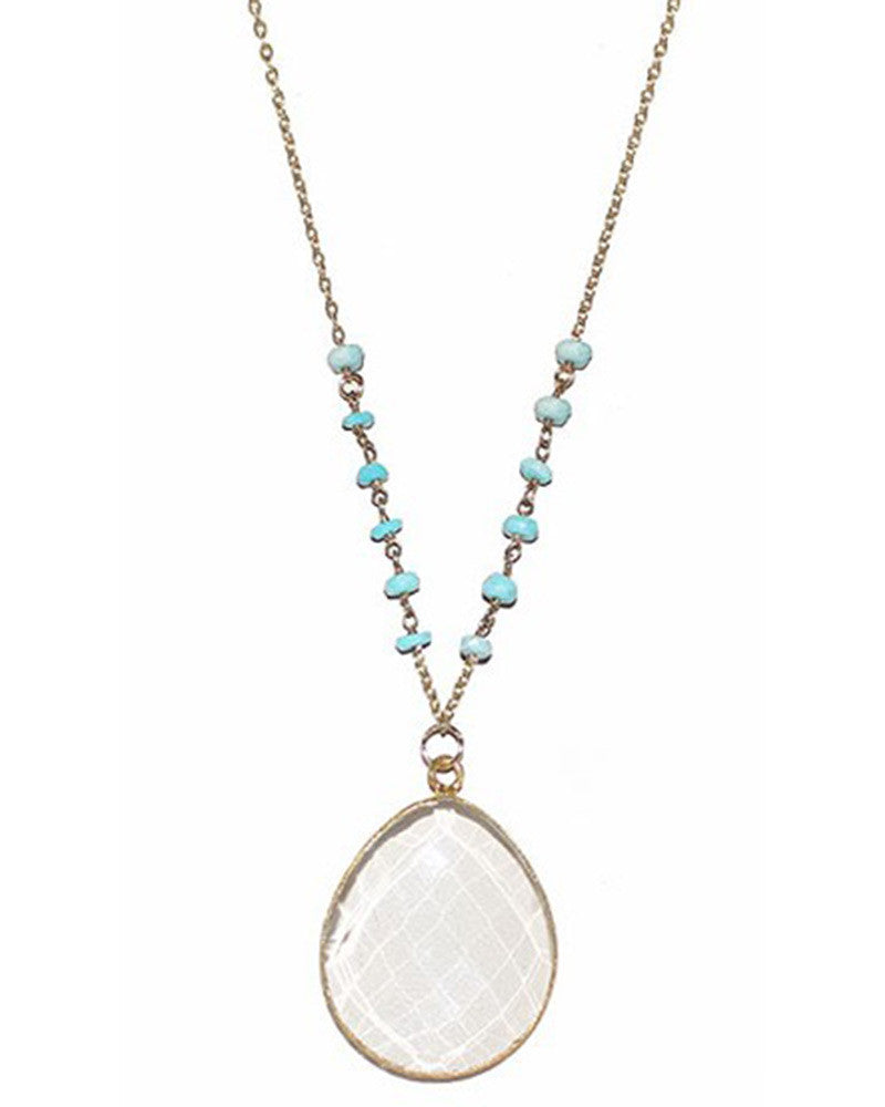 Turquoise Beaded Quartz Teardrop Gold Necklace