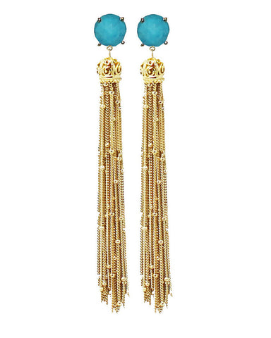 Turquoise stone with gold tassel earrings