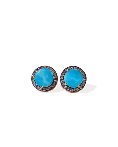 Jaimie Nicole Turqouise Pave Stud Earrings