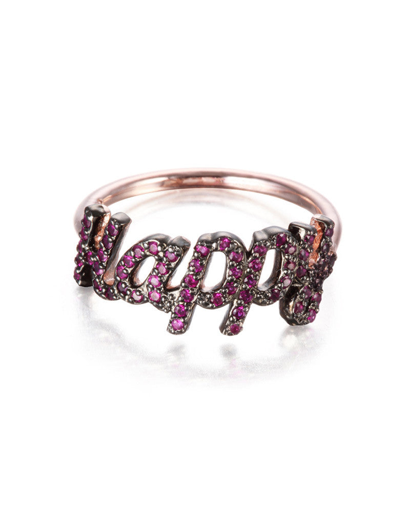 Rose Gold Ring that says Happy Jamie Park