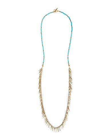 Jenny Bird Palm Rope Turquoise Necklace