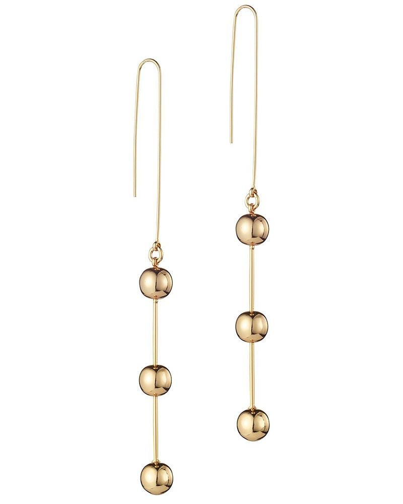 gold long circular round earrings hanging womens jewelry
