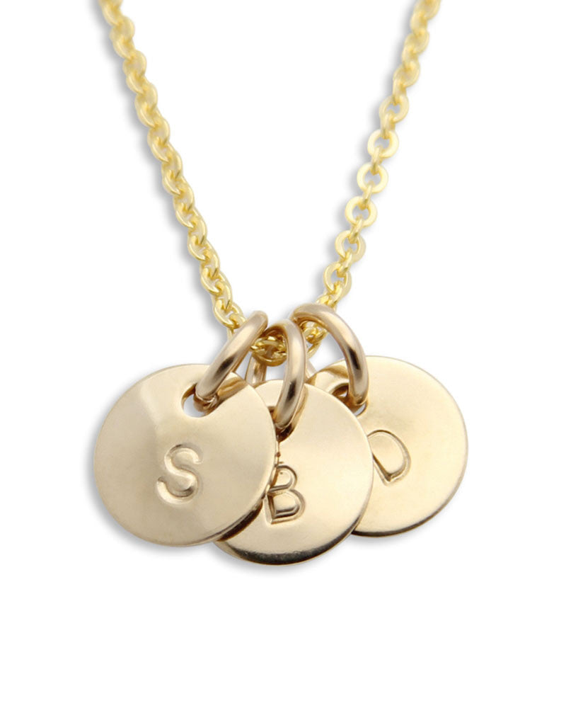 Gold Initials Necklace on circle pendants
