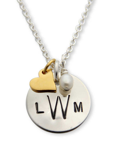 jenny presents hand stamped monogramed necklace