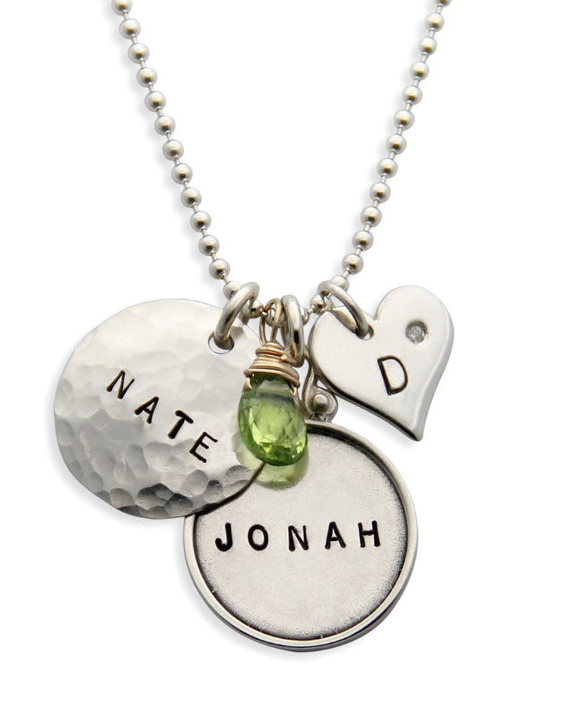 jenny presents hand stamped name plate necklace