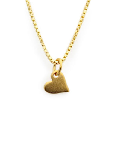 tiny heart charm gold necklace