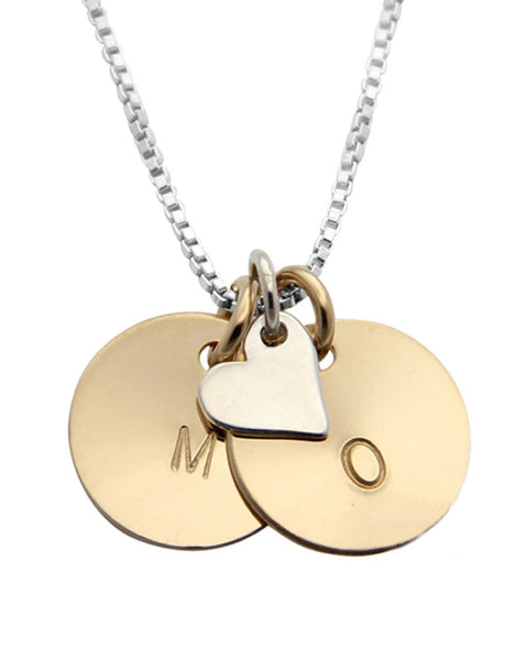 Two Tone silver heart and initial necklace