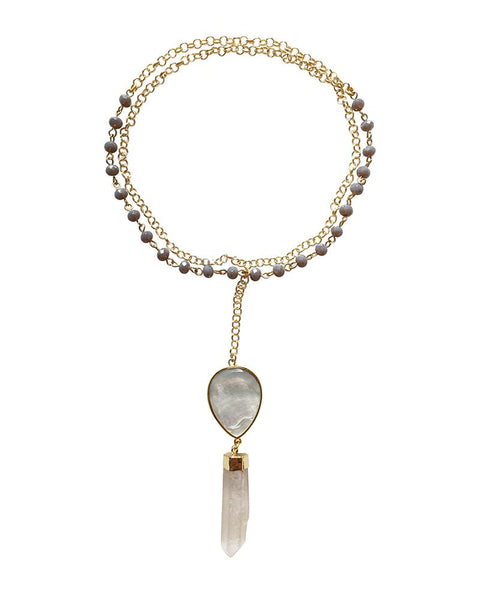 Jewels By Dunn Tear Drop Crystal Necklace