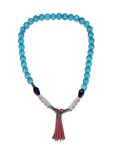 Jewels By Dunn Blue Tassel Handmade Necklace