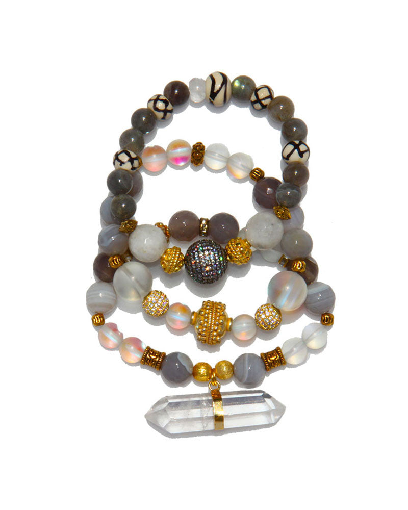 Jewels By Dunn See Through Luck Handmade Bracelet Set