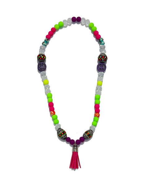 Jewels By Dunn Neon Peace Handmade Necklace