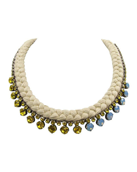 Jolita Handmade Silk Necklace with Swarovski Crystals