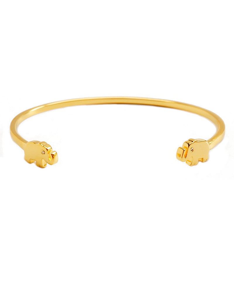 Elephant charm cuff gold with cz