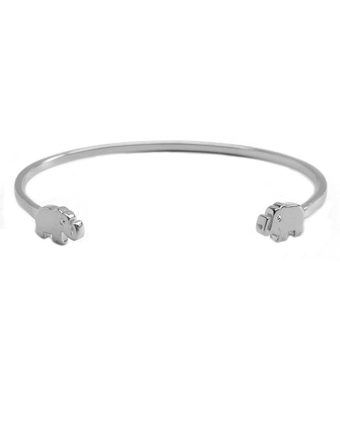 Silver tiny elephant cuff with cz eyes joyiia