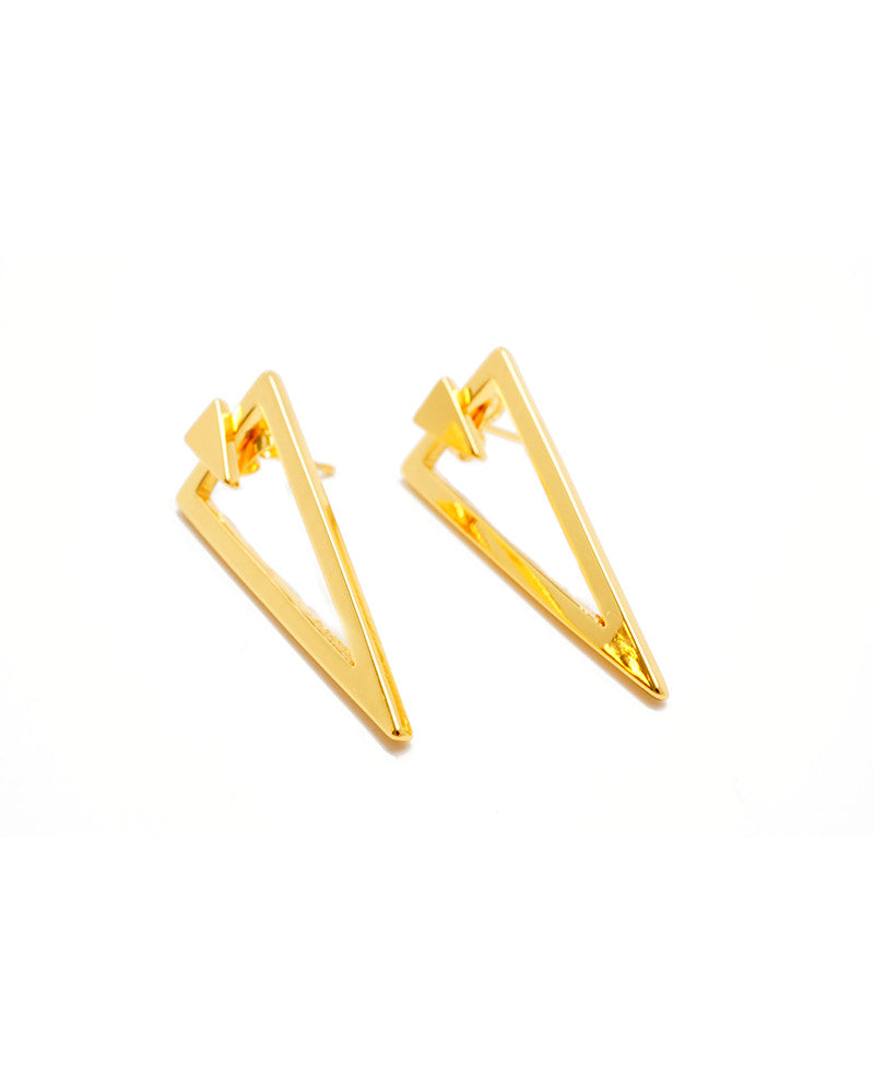 Joyiia Gold Triangle Jacke Earrings