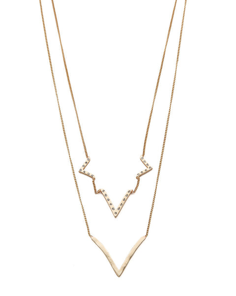 Jules Smith Layered Curved V Necklace