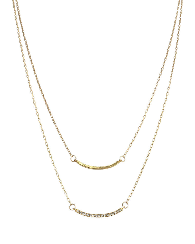 Jules Smith Pave Solid Layered Arched Bar Necklace