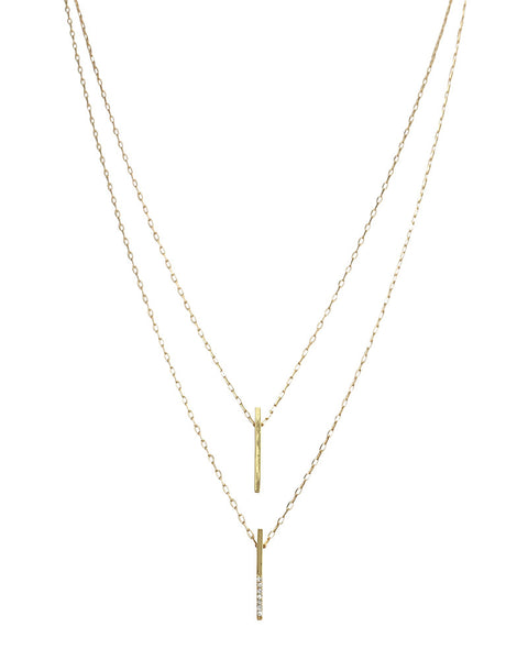 Jules Smith Pave Solid Vertical Bar Necklace