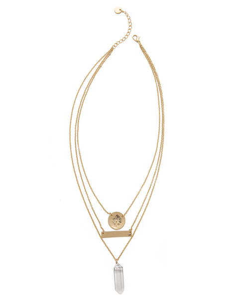 Jules Smith Triple Layered Crystal Charm Necklace