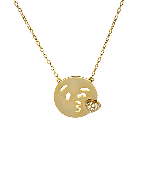 kisses emoji charm necklace