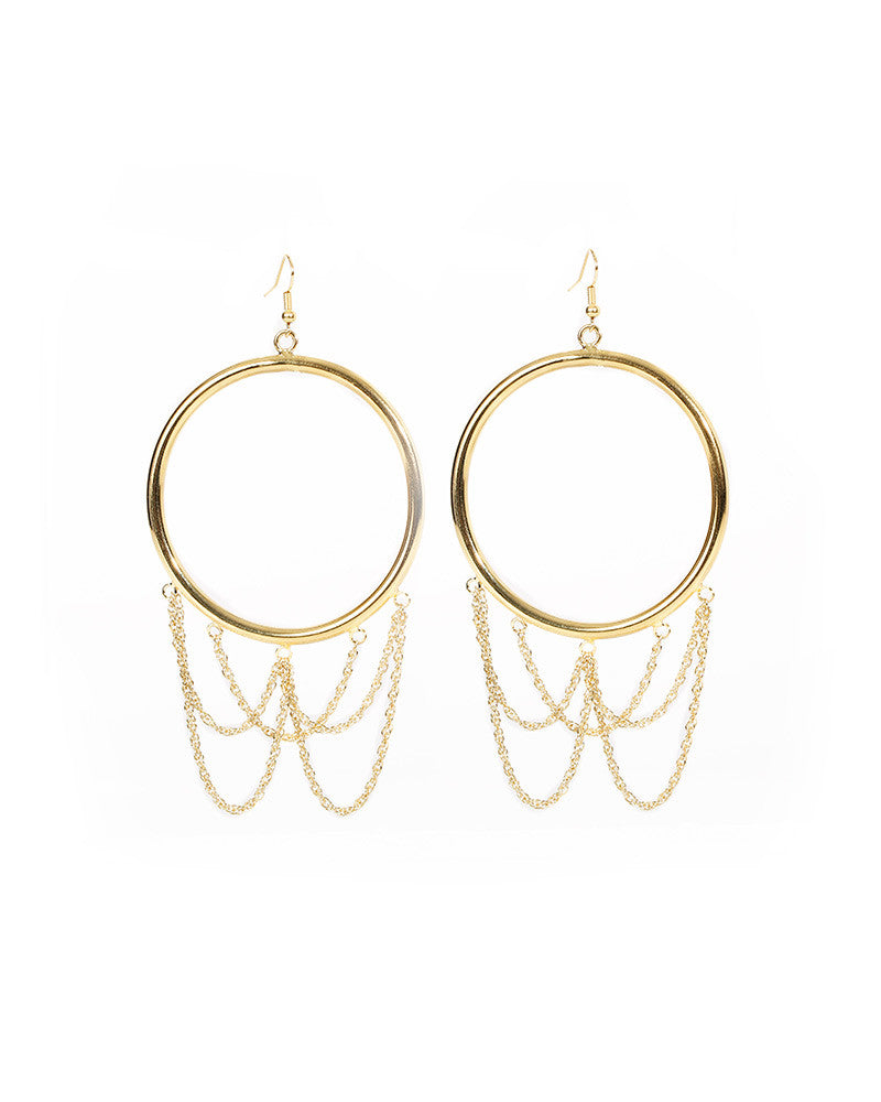 swoop hoop hanging dangling gold earrings womens l george designs