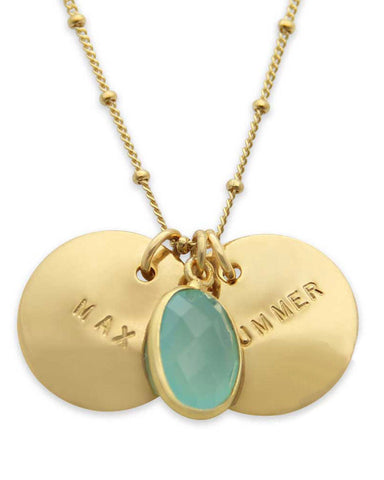 large gold name plate necklace with sea green stone
