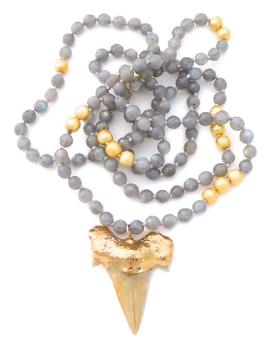 Labradorite Beaded Large Shark Tooth Necklace