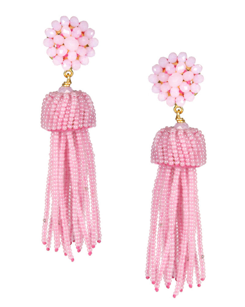 pink hanging lisi lerch tassel earrings bright color