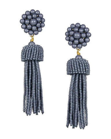 lisi lerch designer earrings grey slate women jewelry tassel