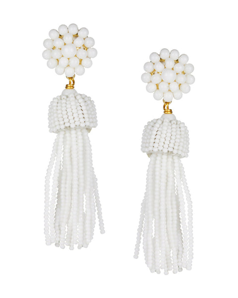 white nice hanging earrings tassel lisi lerch