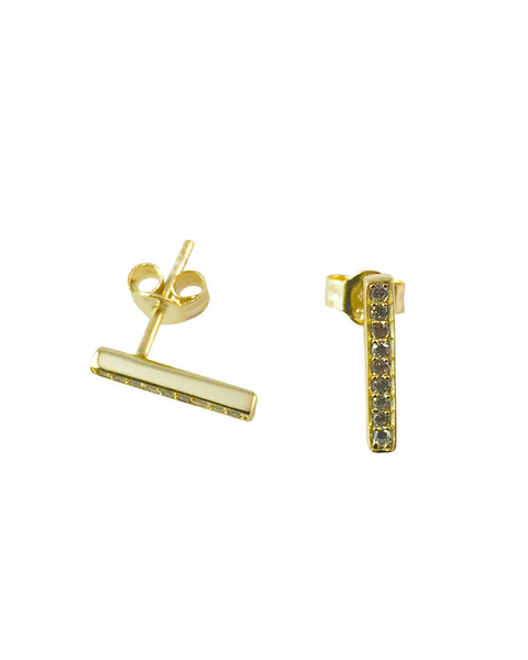 Tiny Gold Bar Studs Pave