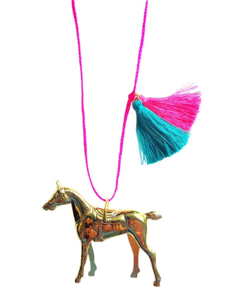 wild and free gold horse charm childrens necklace little lux