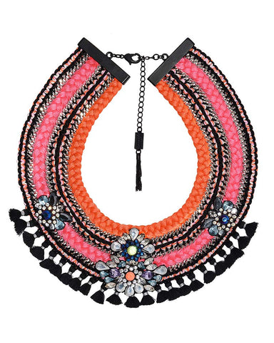 Mary Jane Claverol Kulu Pink and Orange Necklace