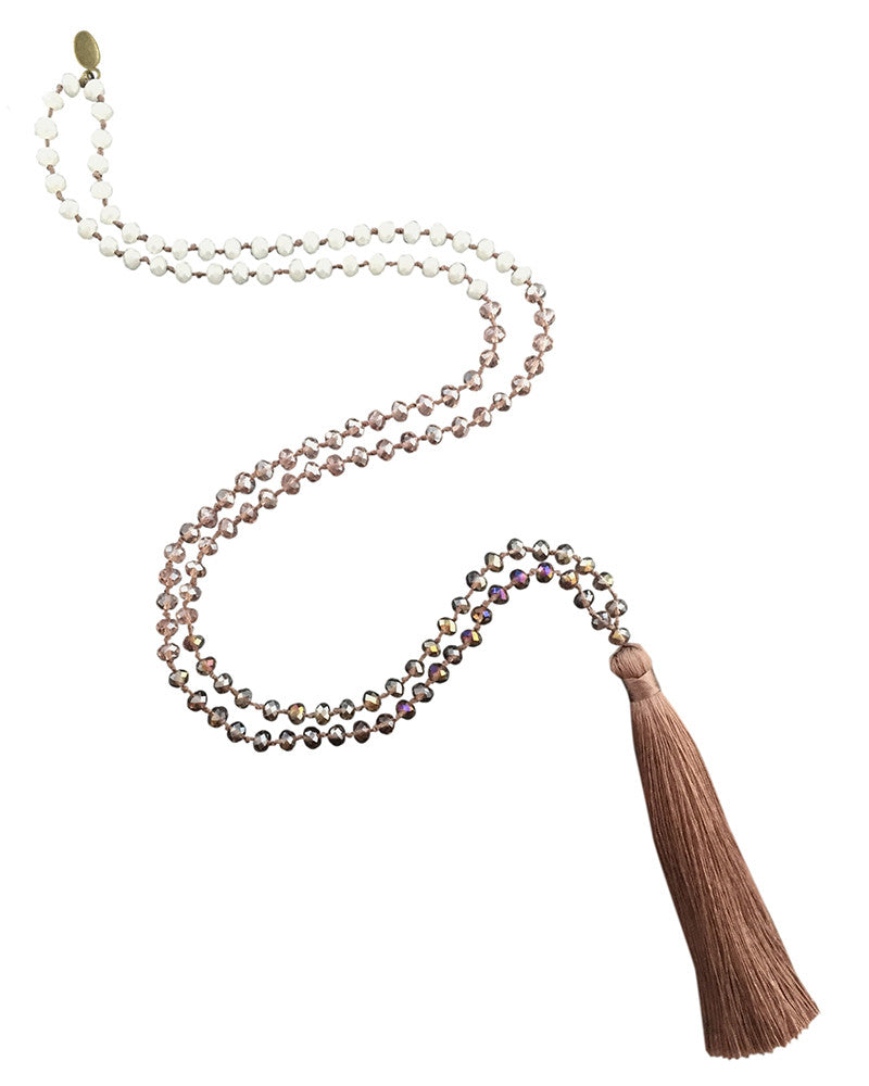 Mauve and Purple Zacasha Tassel Necklace