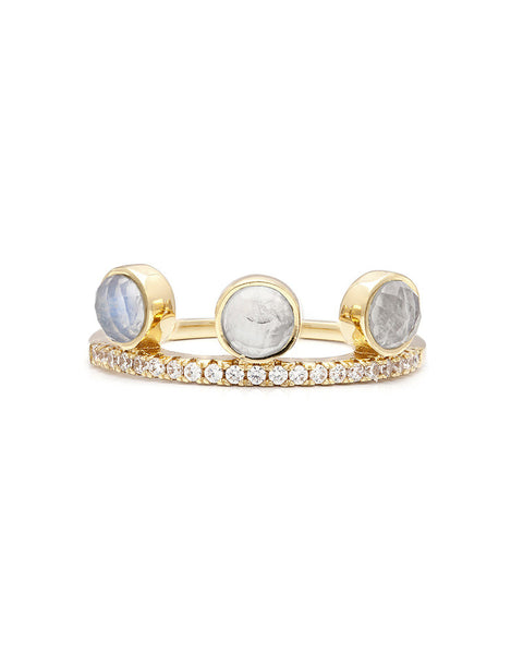 melanie auld stacking ring with moonstones and gold