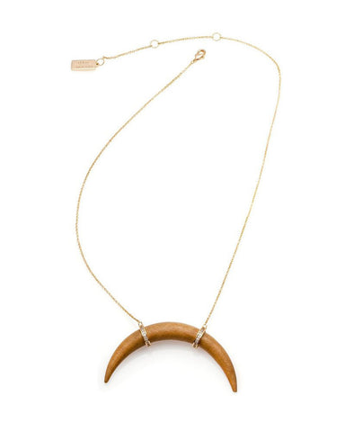 melanie auld crescent blonde wood necklace