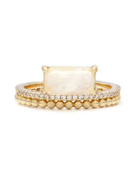 double band stack gold moonstone melanie auld jewelry