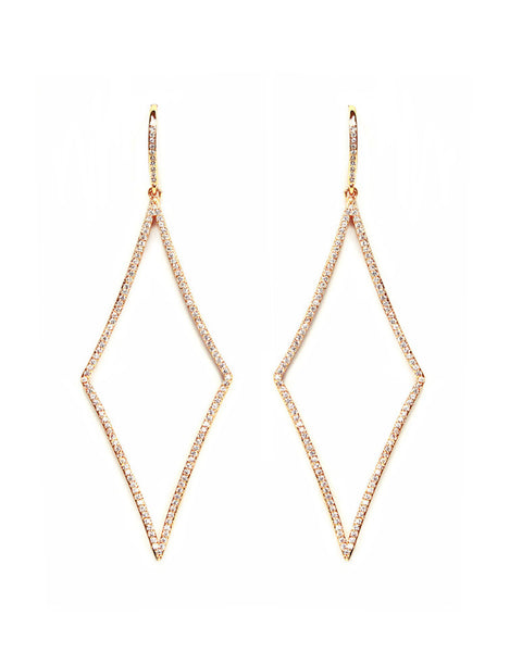 Melanie Auld Elongated Pave Rose Gold Diamond Earrings