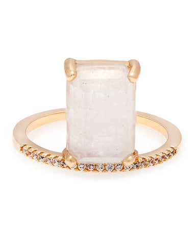 emerald cut stacking ring moonstone ring gold designer melanie auld