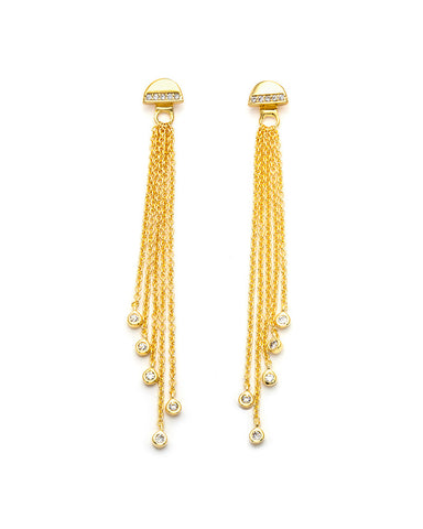 melanie auld half circle dropped chains gold earrings