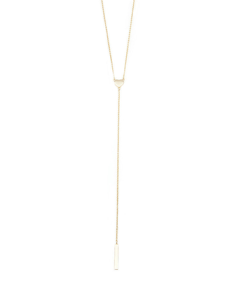 melanie auld heart lariat gold necklace
