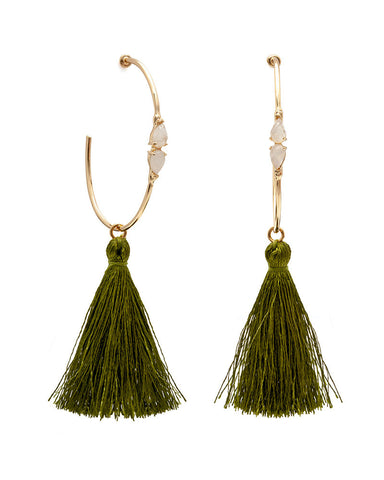 melanie auld moonstone tassel earrings forest green