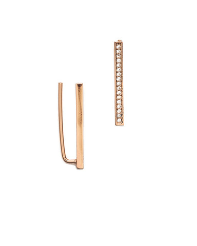 Pave Bar Ear Climbers Rose Gold - Melanie Auld