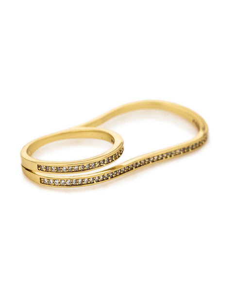 Melanie Auld Pave Double Finger Ring Gold