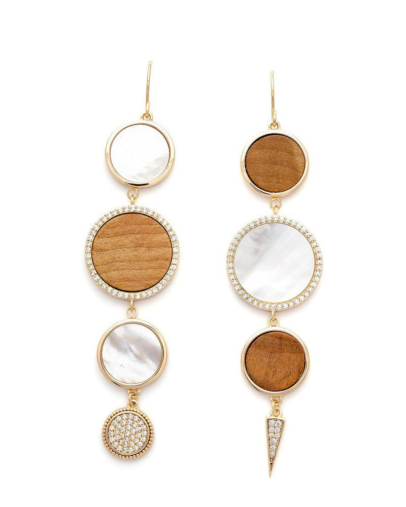 oyster and wood earrings melanie auld