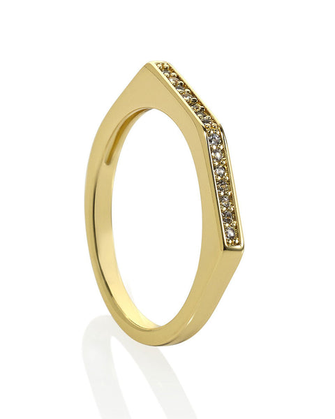 Melanie Auld Gold Pave Point Ring