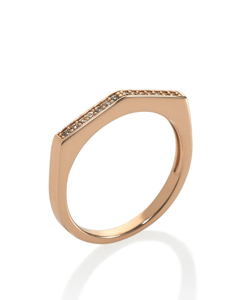 Melanie Auld Rose Gold Pave Point Ring