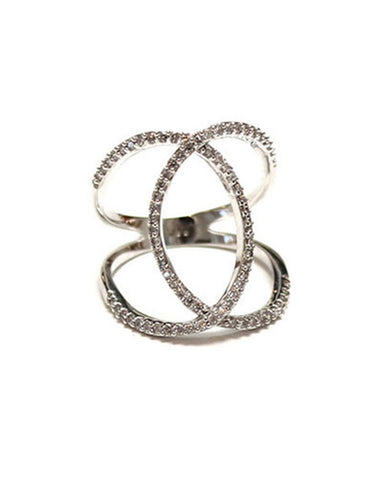 Melanie Auld Pave Silver Double Ring